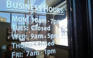 Custom Hours of Operation Vinyl Graphics
